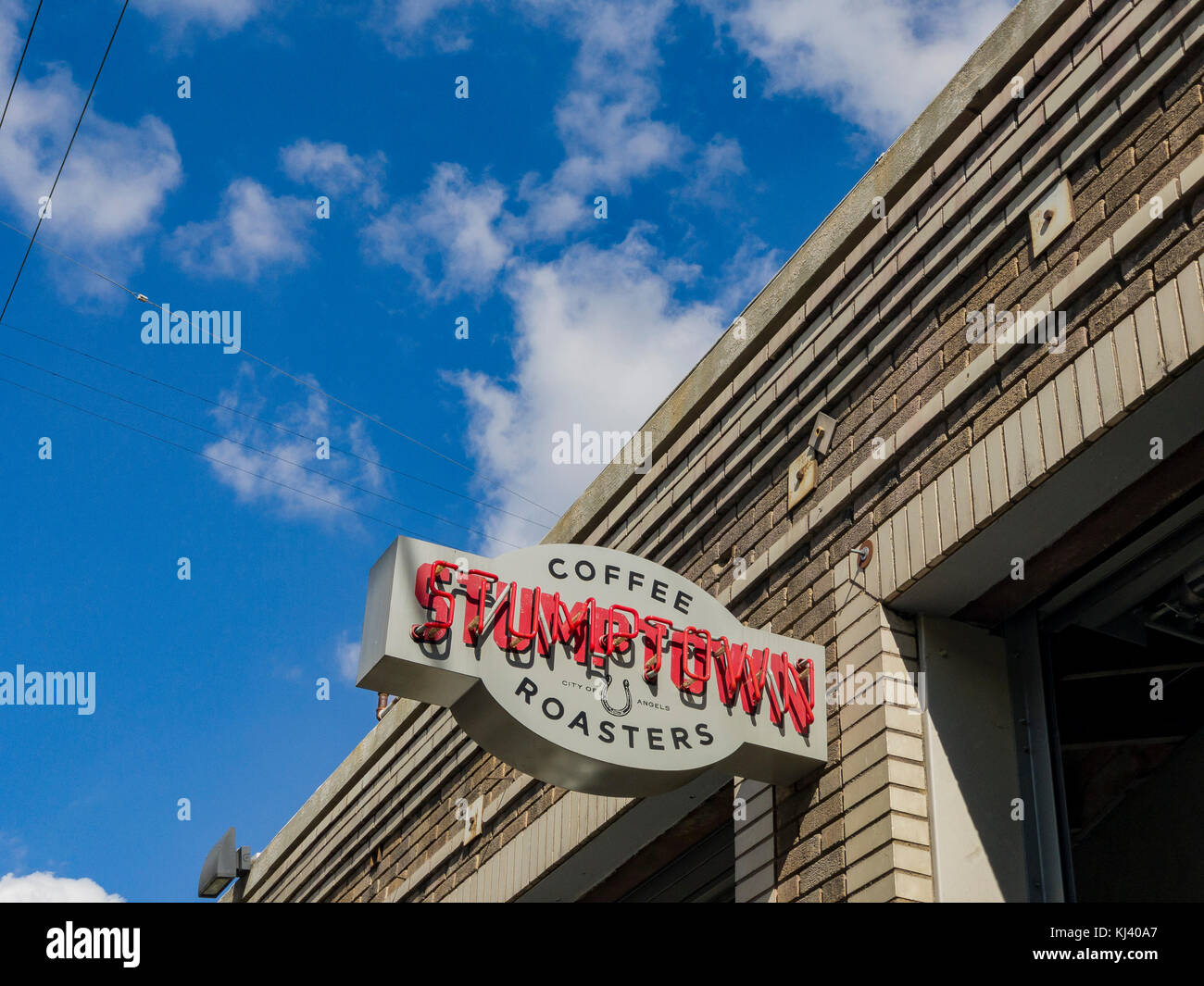 Los Angeles, NOV 5: Exterior sign of the famous Stumptown Coffee on NOV 5, 2017 at Los Angeles, California - Stock Image