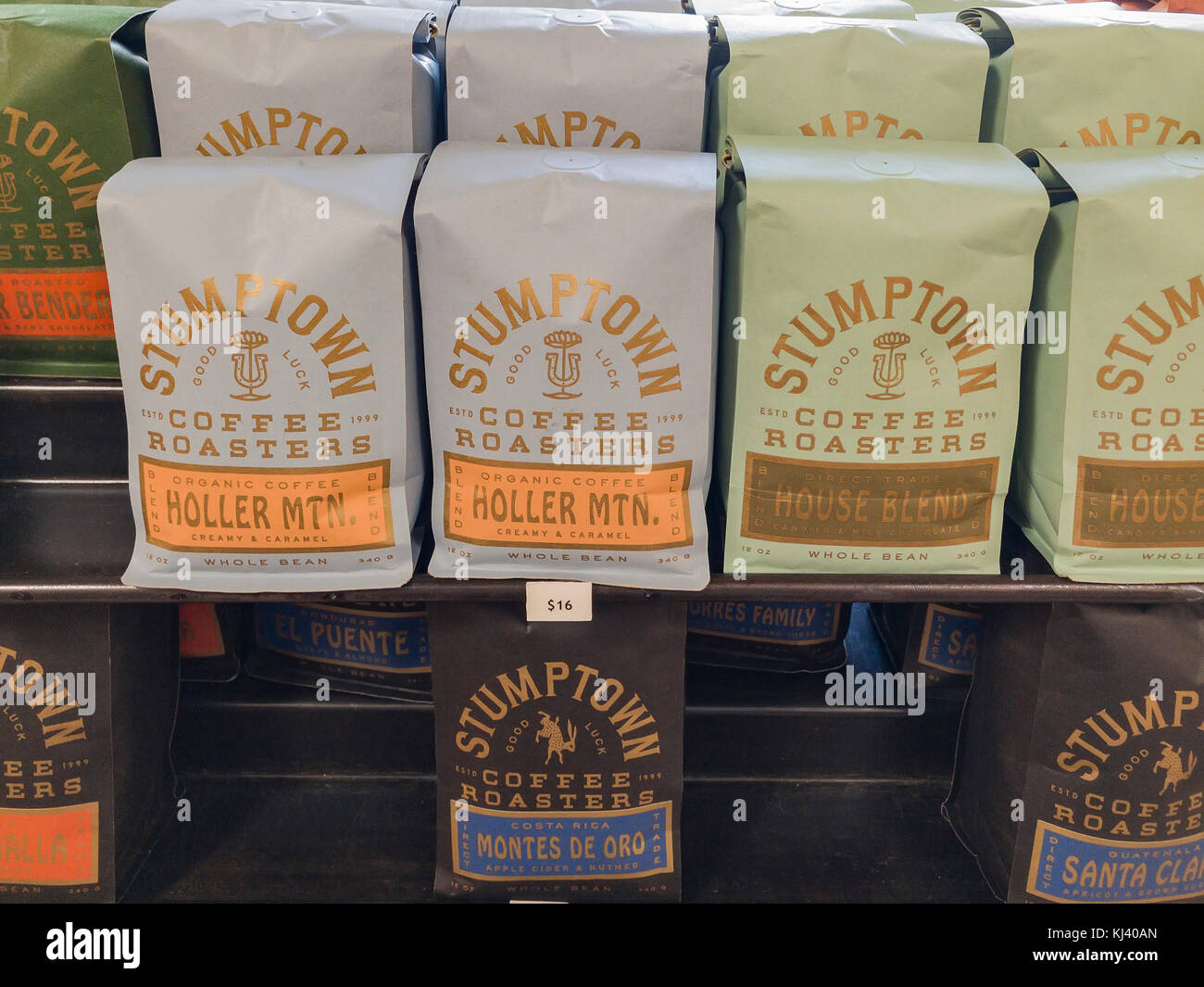 Los Angeles, NOV 5: Roasted beans selling in the famous Stumptown Coffee on NOV 5, 2017 at Los Angeles, California - Stock Image