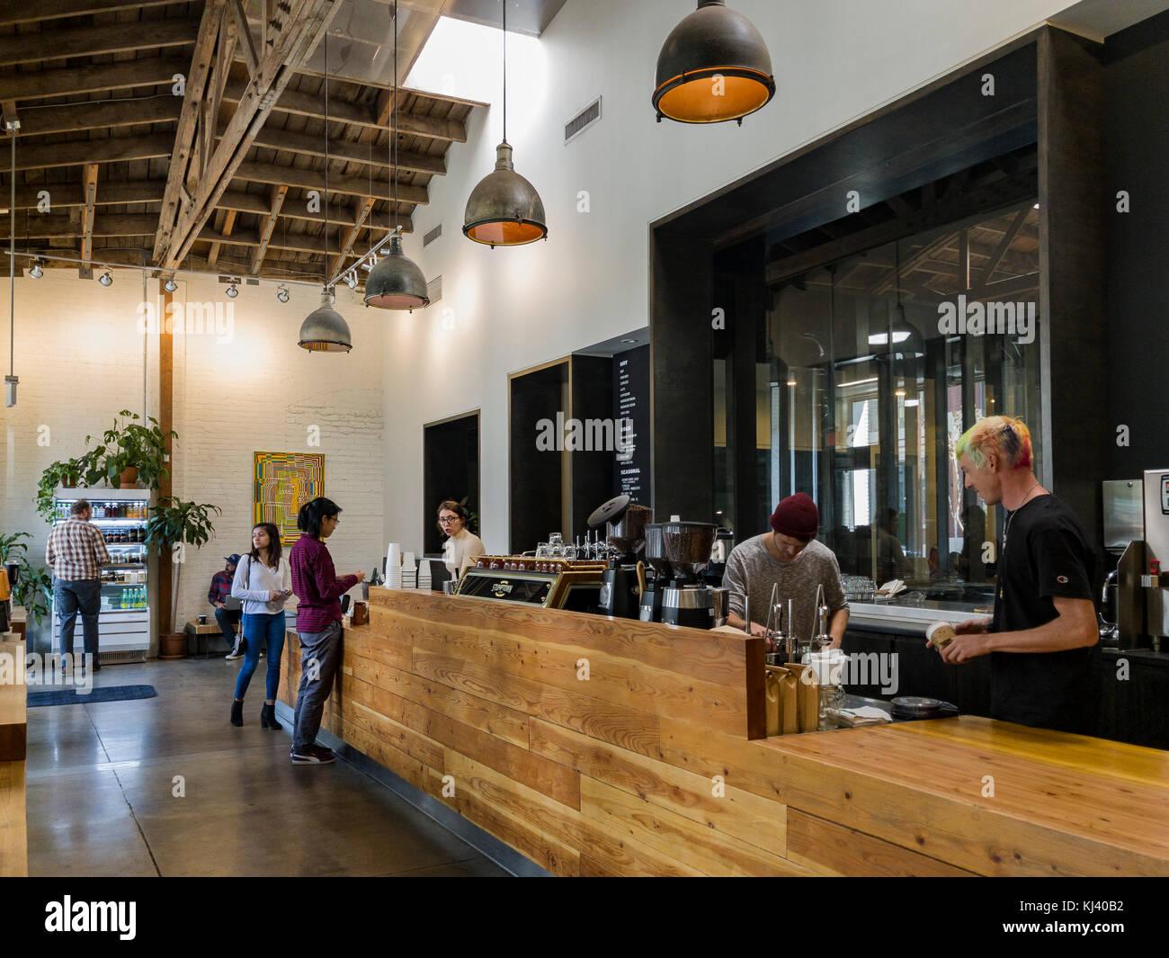Los Angeles, NOV 5: The famous Stumptown Coffee on NOV 5, 2017 at Los Angeles, California - Stock Image
