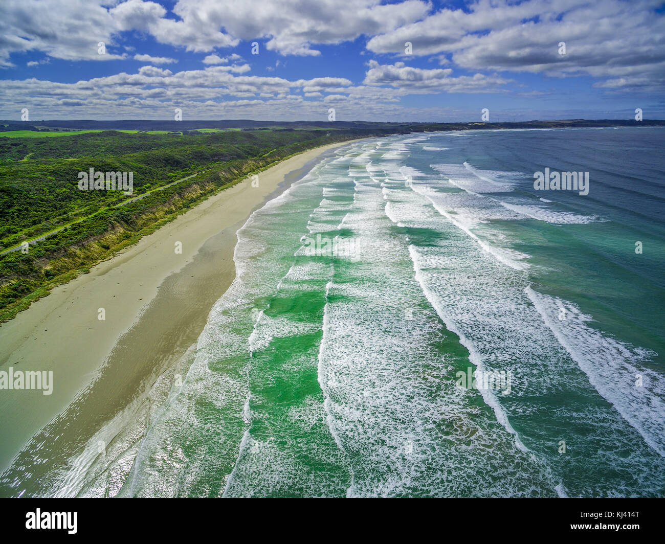 Aerial view of beautiful ocean beach in Australia - Stock Image