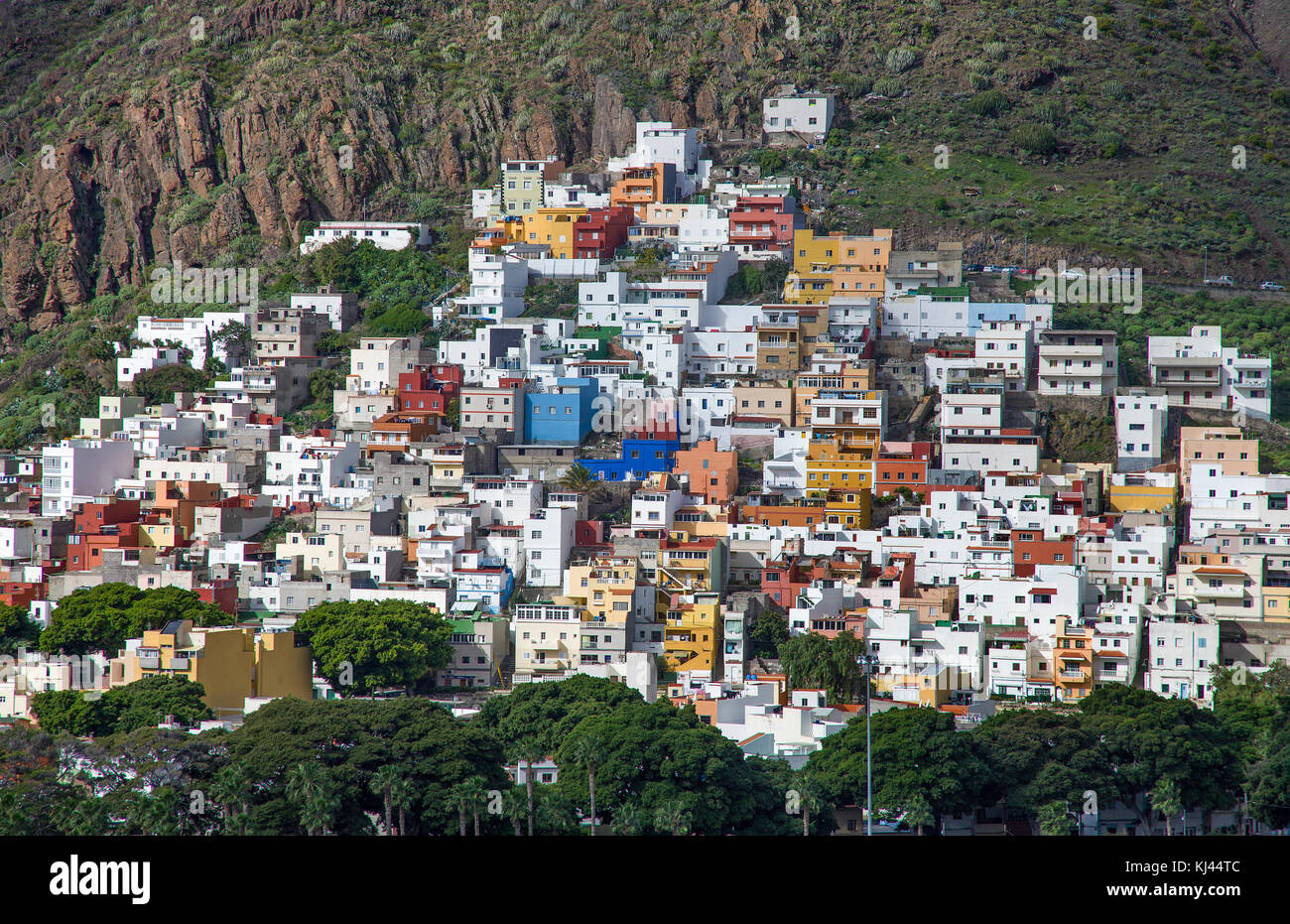 Colourful cub houses at the fishing village San Andres, south east of the island, Tenerife island, Canary islands, Stock Photo