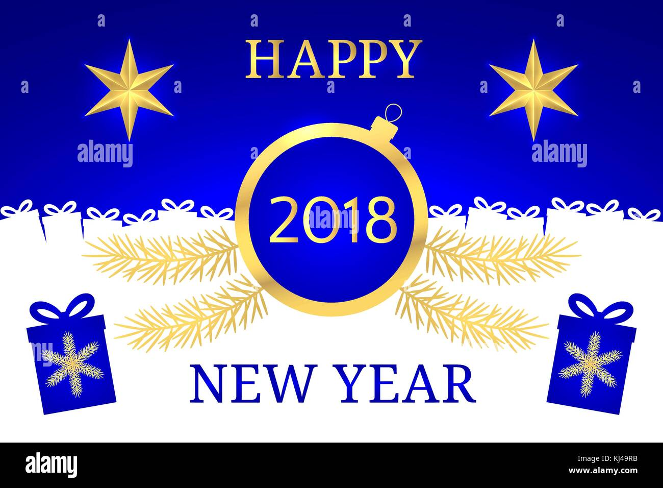 Happy New Year 2018. Vector Banner with New Year Greeting in Golden and Blue Color. Golden Shining Star, Toy and - Stock Vector