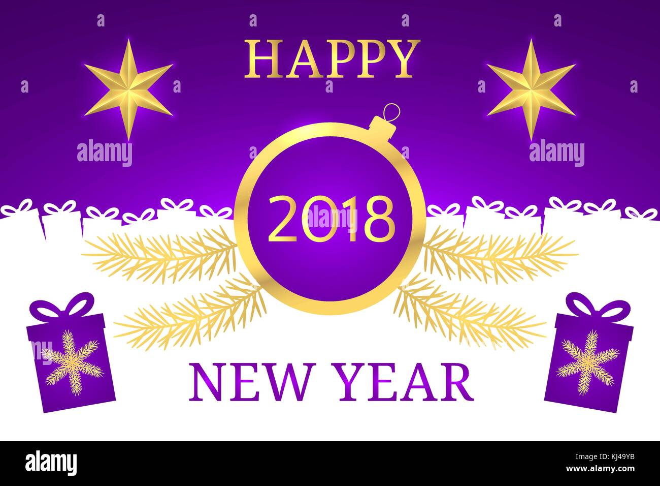 Happy New Year 2018. Vector Banner with New Year Greeting in Golden and Purple Color. Golden Shining Star, Toy and - Stock Vector
