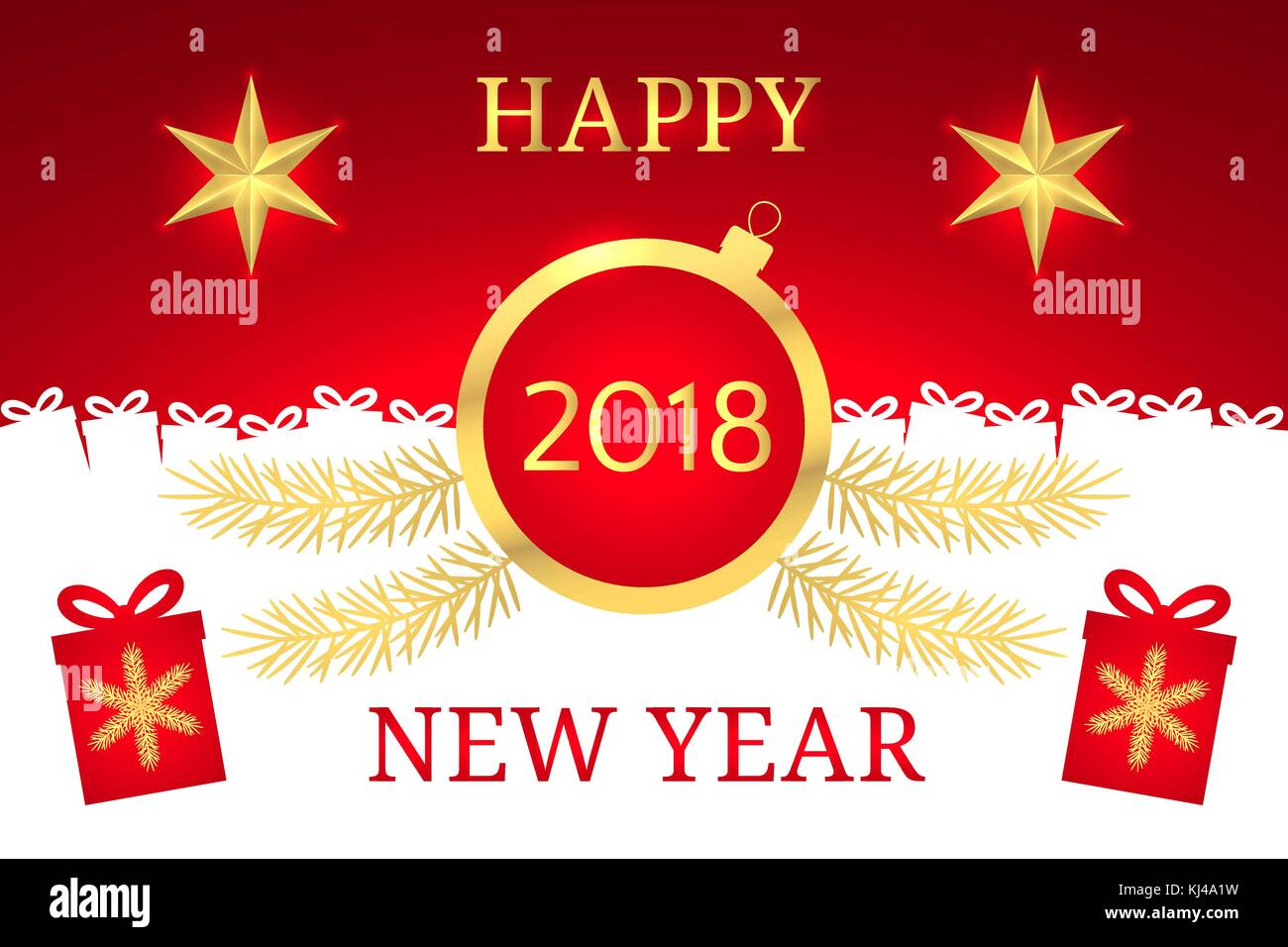 Happy New Year 2018. Vector Banner with New Year Greeting in Golden and Red Color. Golden Shining Star, Toy and - Stock Vector