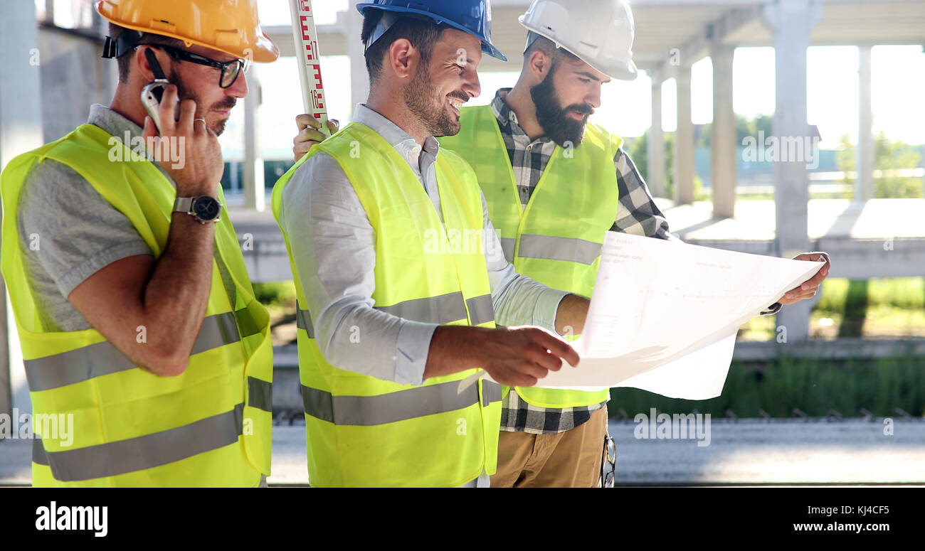 Group of engineering team had meeting at working site Stock Photo