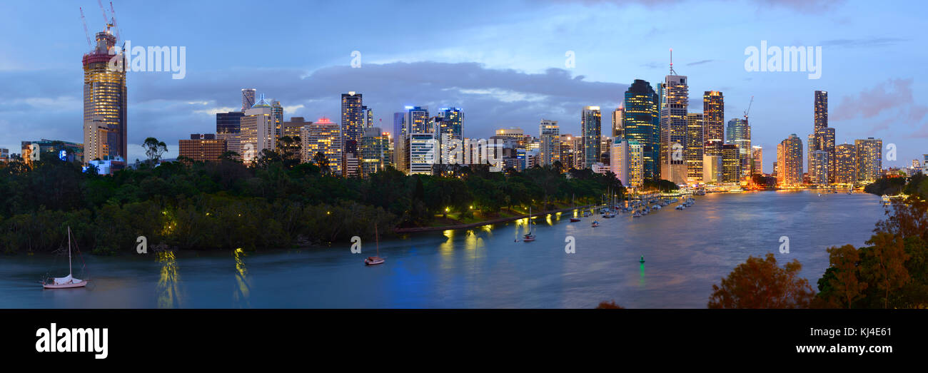 Panorama of the Brisbane City from Kangaroo Point cliffs after sunset, Brisbane, Queensland, Australia - Stock Image