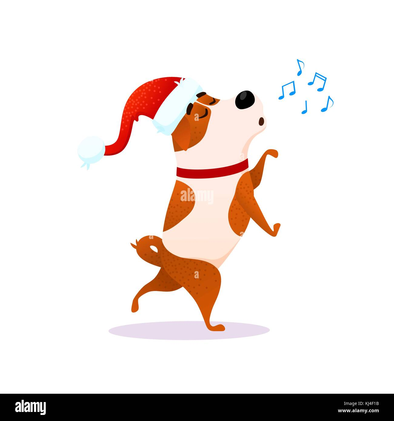 Funny cartoon dancing dog sings. Xmas flat character. Puppy isolated on white background. Terrier wearing red Santa - Stock Vector