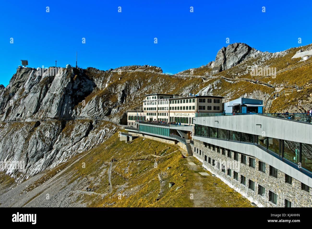 Historical mountain hotel Pilatus-Kulm on the Pilatus massif, Alpnachstad, Switzerland - Stock Image