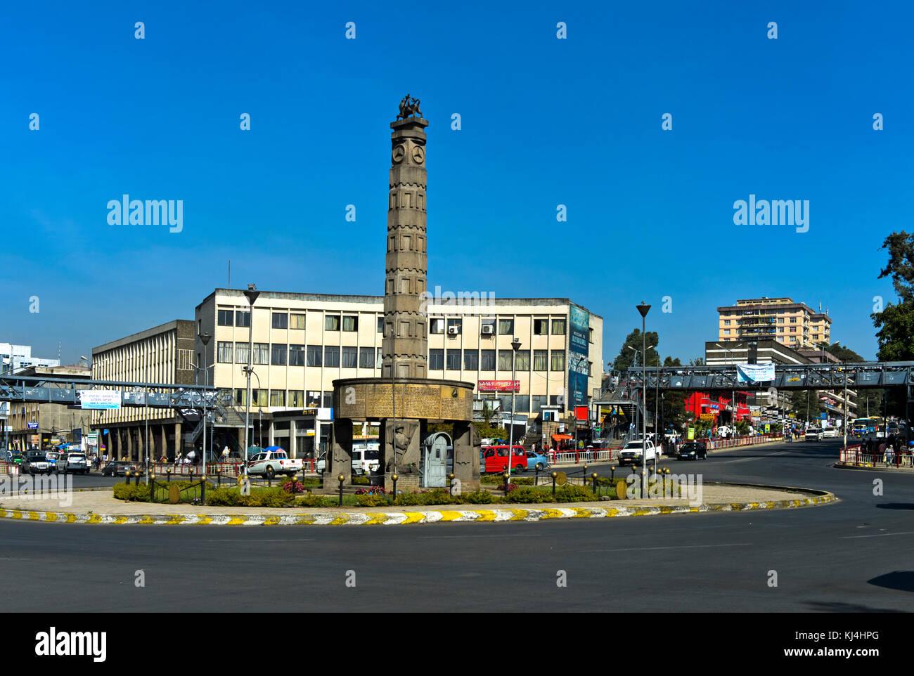 Victory Monument in Arat Kilo square, also Meyazia 27 Square, Addis Ababa, Ethiopia - Stock Image