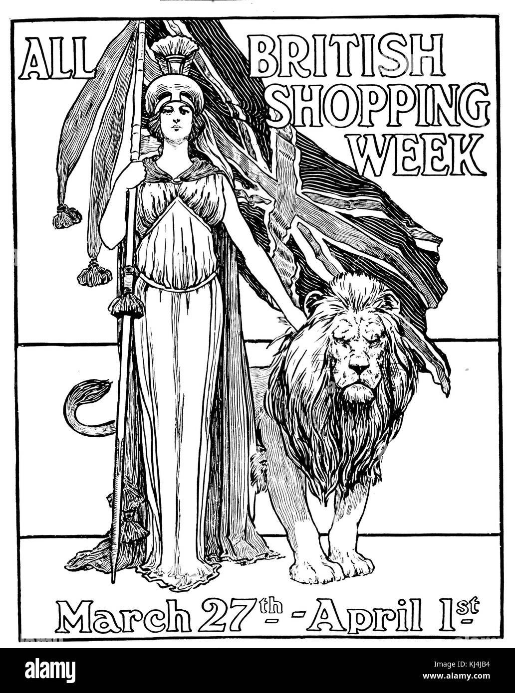 ALL BRITISH SHOPPING WEEK Magazine advert to promote home produced goods in 1911 - Stock Image