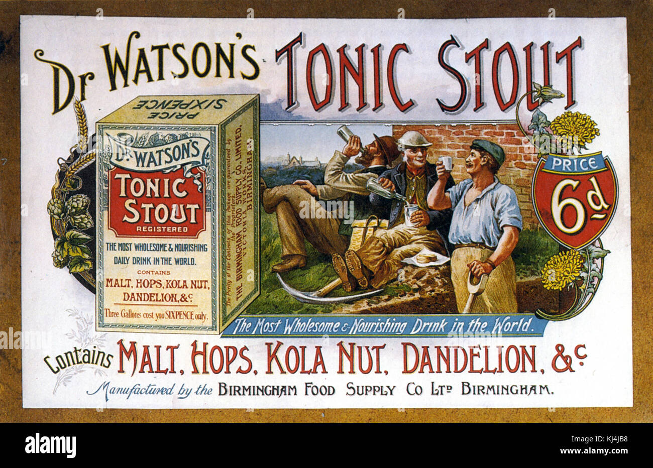 DR WATSON'S TONIC STOUT showcard about 1905 - Stock Image