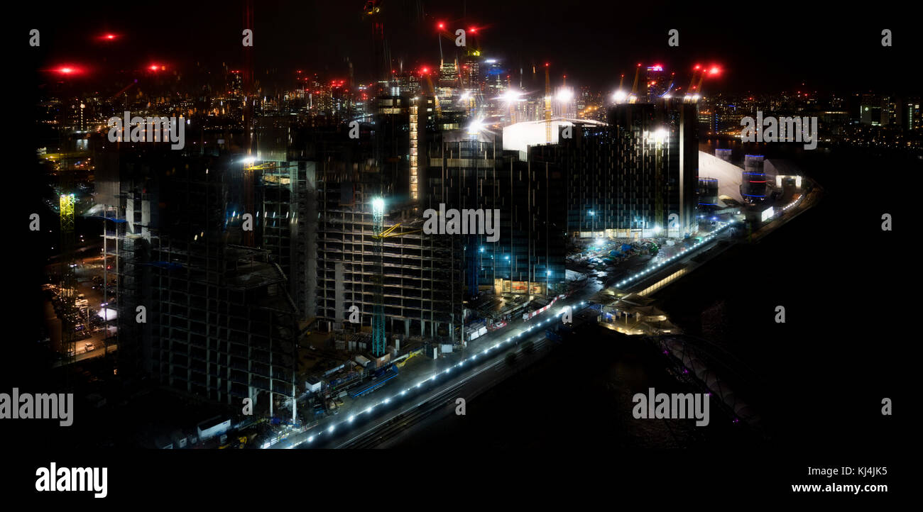 London North Greenwich skyline at night, captured from the Emirates air-line crossing - Stock Image