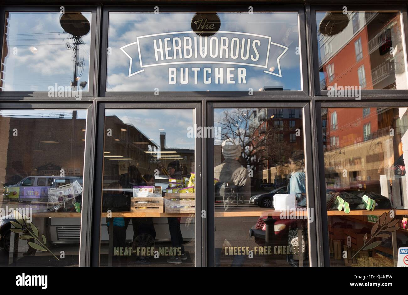 The store front of The Herbivorous Butcher shop in Minneapolis, Minnesota, USA. - Stock Image