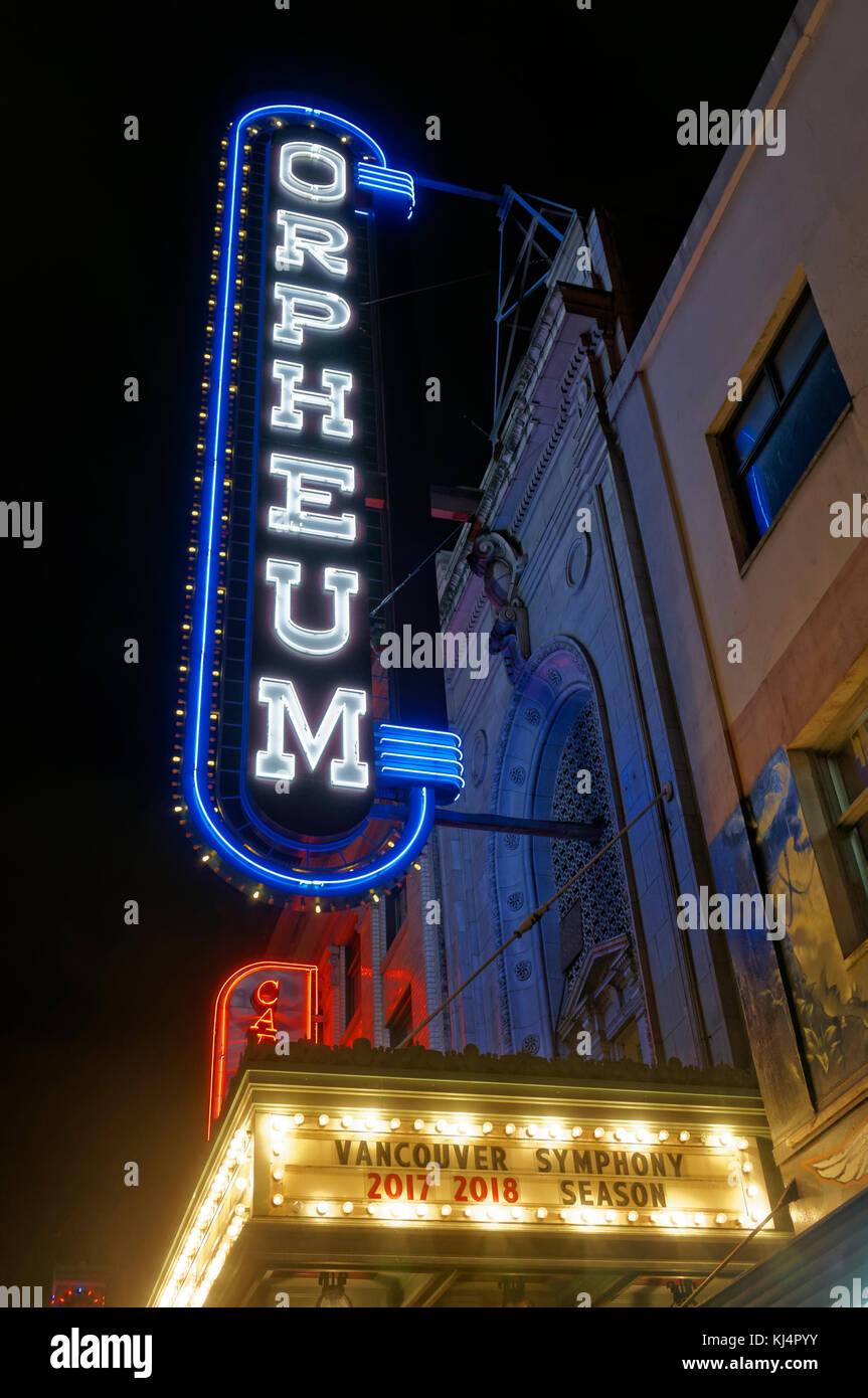 The Orpheum Theatre at night on Granville Street ,Vancouver, BC, Canada - Stock Image