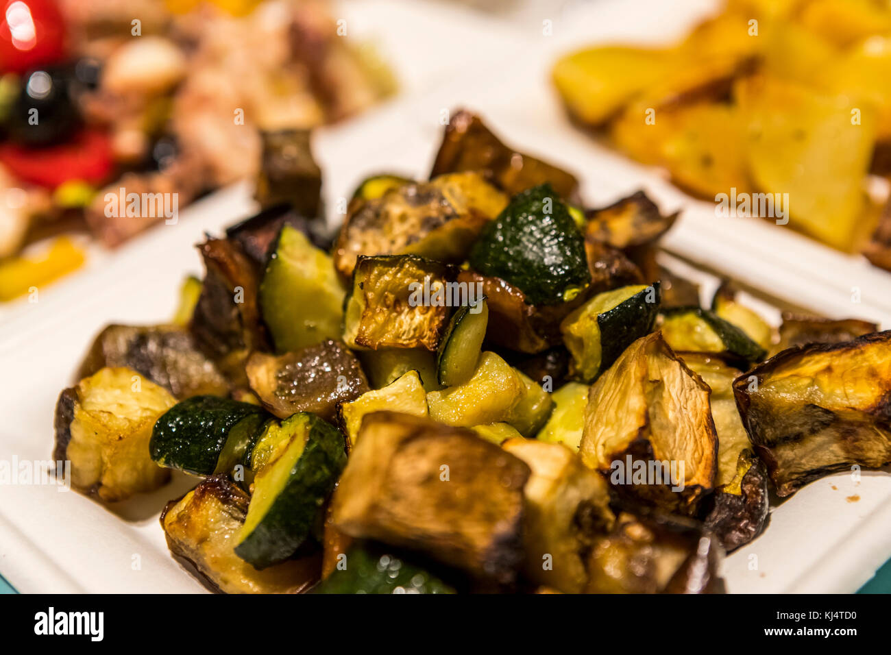 Fish and seafood served by weight at Pescheria Del Pavaglione in the Il Mercato Di Mezzo. Bologna city life, Italy. - Stock Image