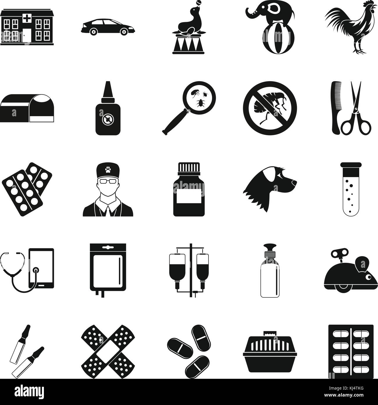 Veterinary icons set, simple style - Stock Image