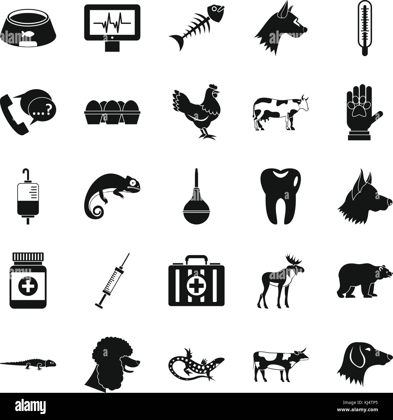 Cow leech icons set, simple style - Stock Image