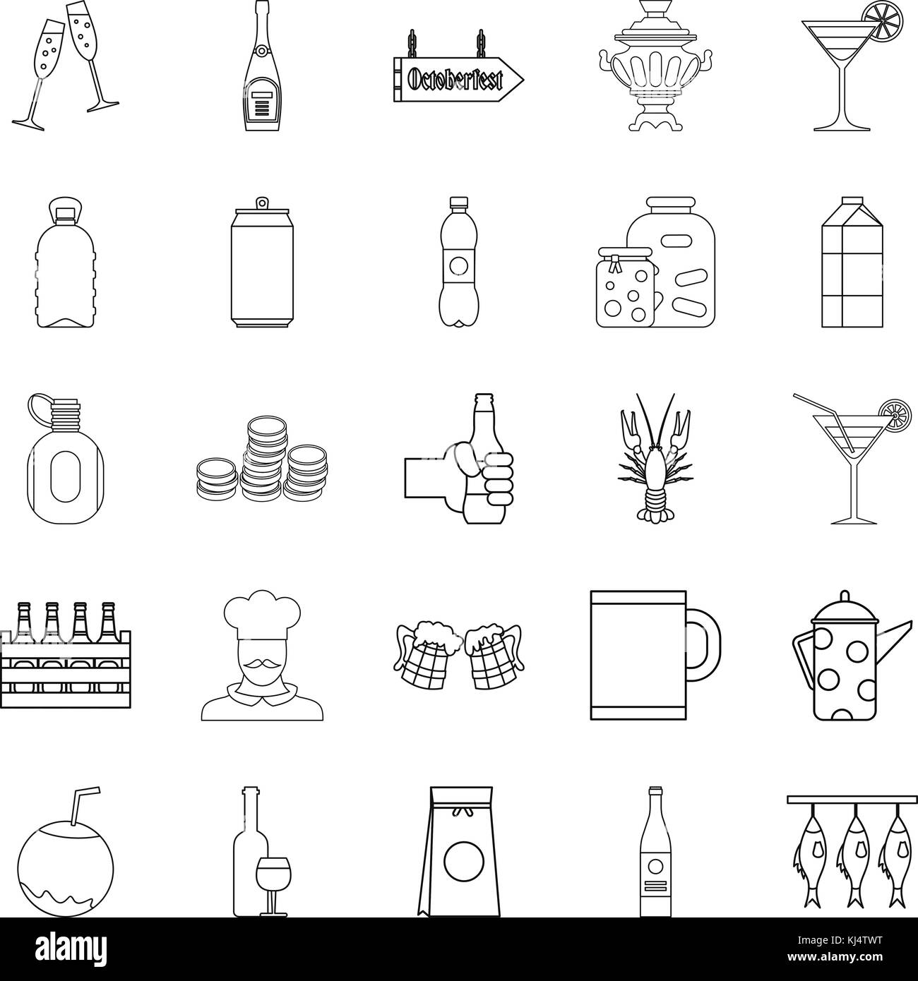 Alcohol icons set, outline style - Stock Image
