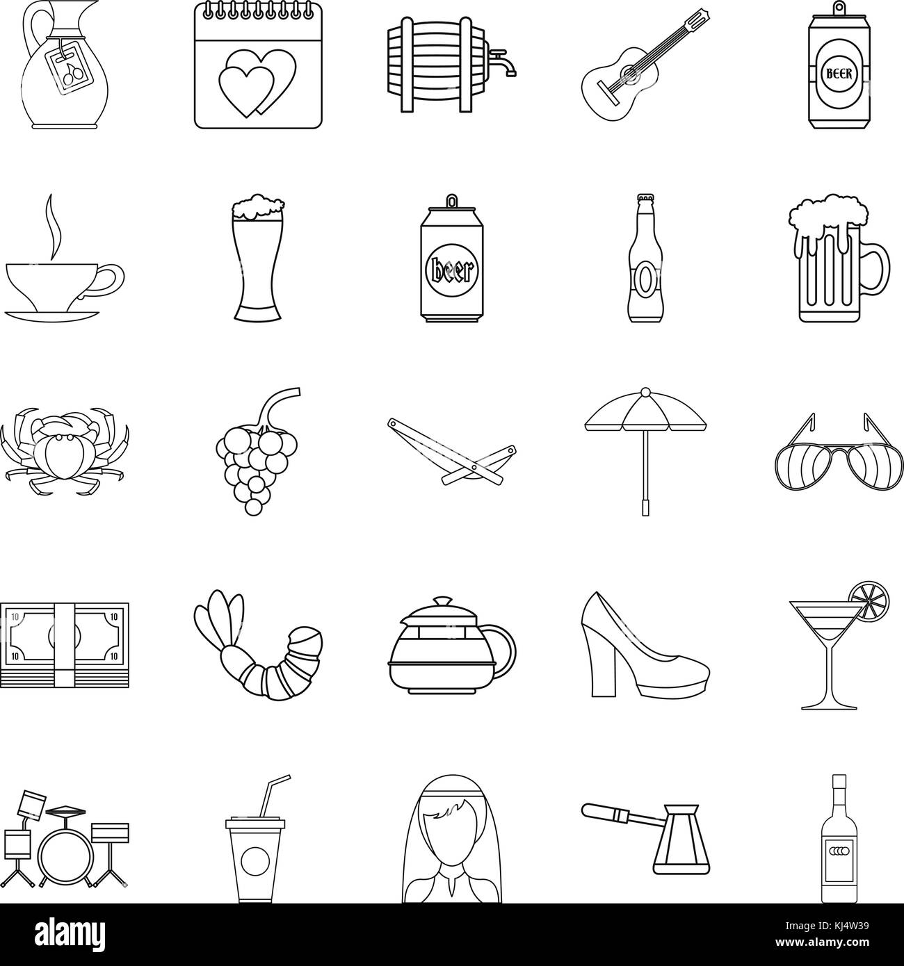 Strong drink icons set, outline style - Stock Image