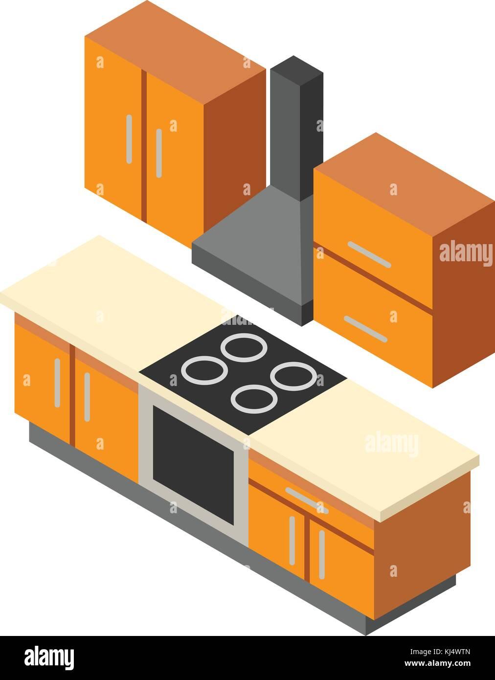 Kitchen Icon Isometric Style Stock Vector Art