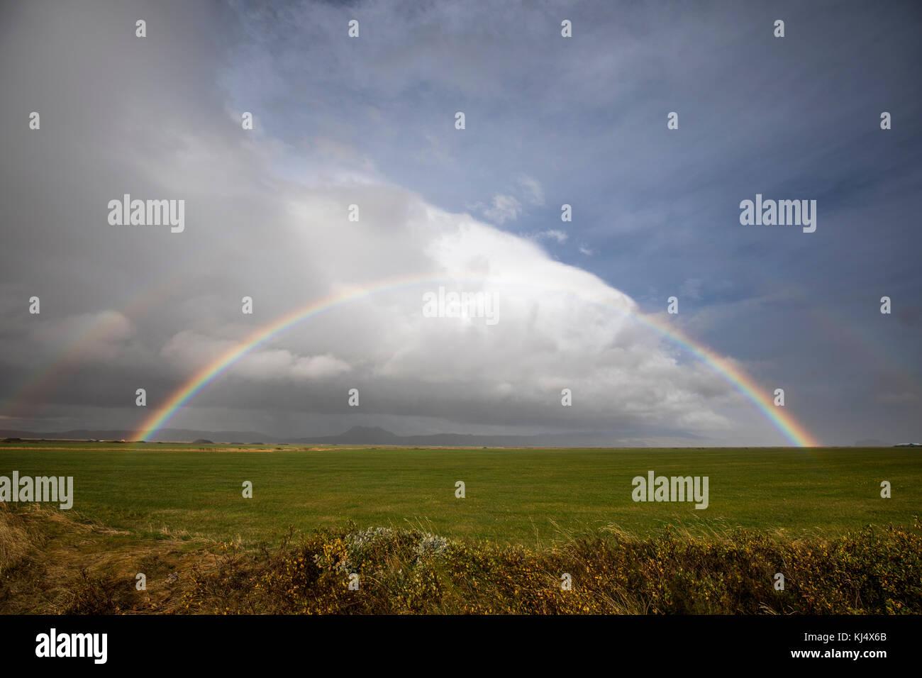 Rainbow on the south coast of Iceland - Stock Image