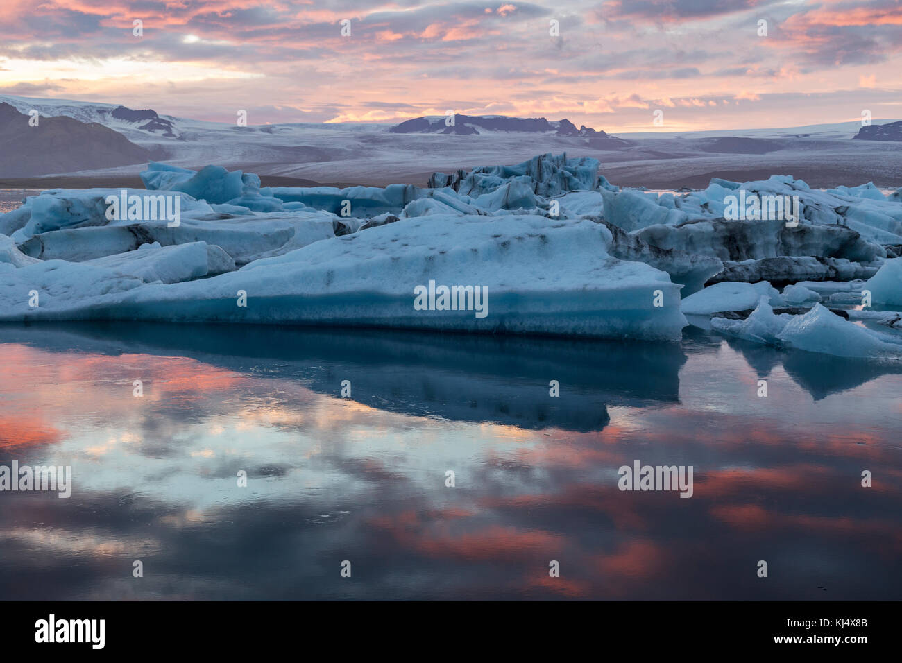 Glacier lagoon on the south east coast of Iceland - Stock Image