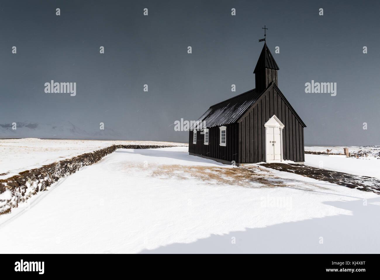 Búðir black church west Iceland - Stock Image