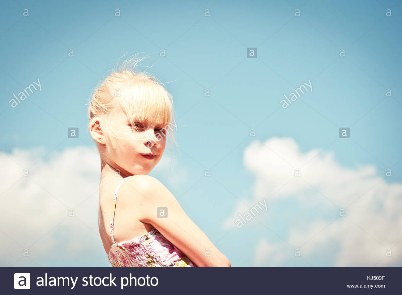 young blonde girl - Stock Image