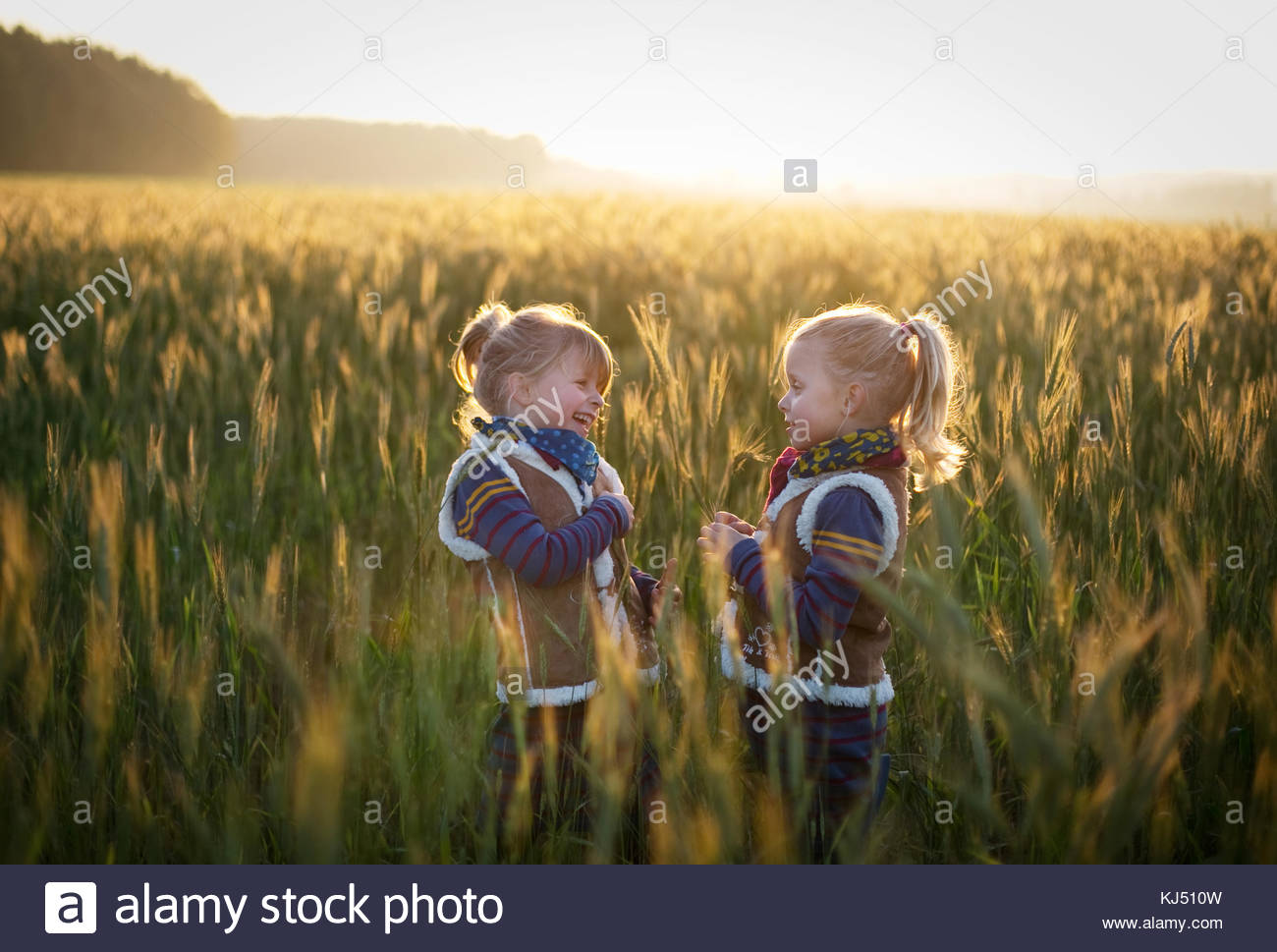 little girl in a bright meadow - Stock Image