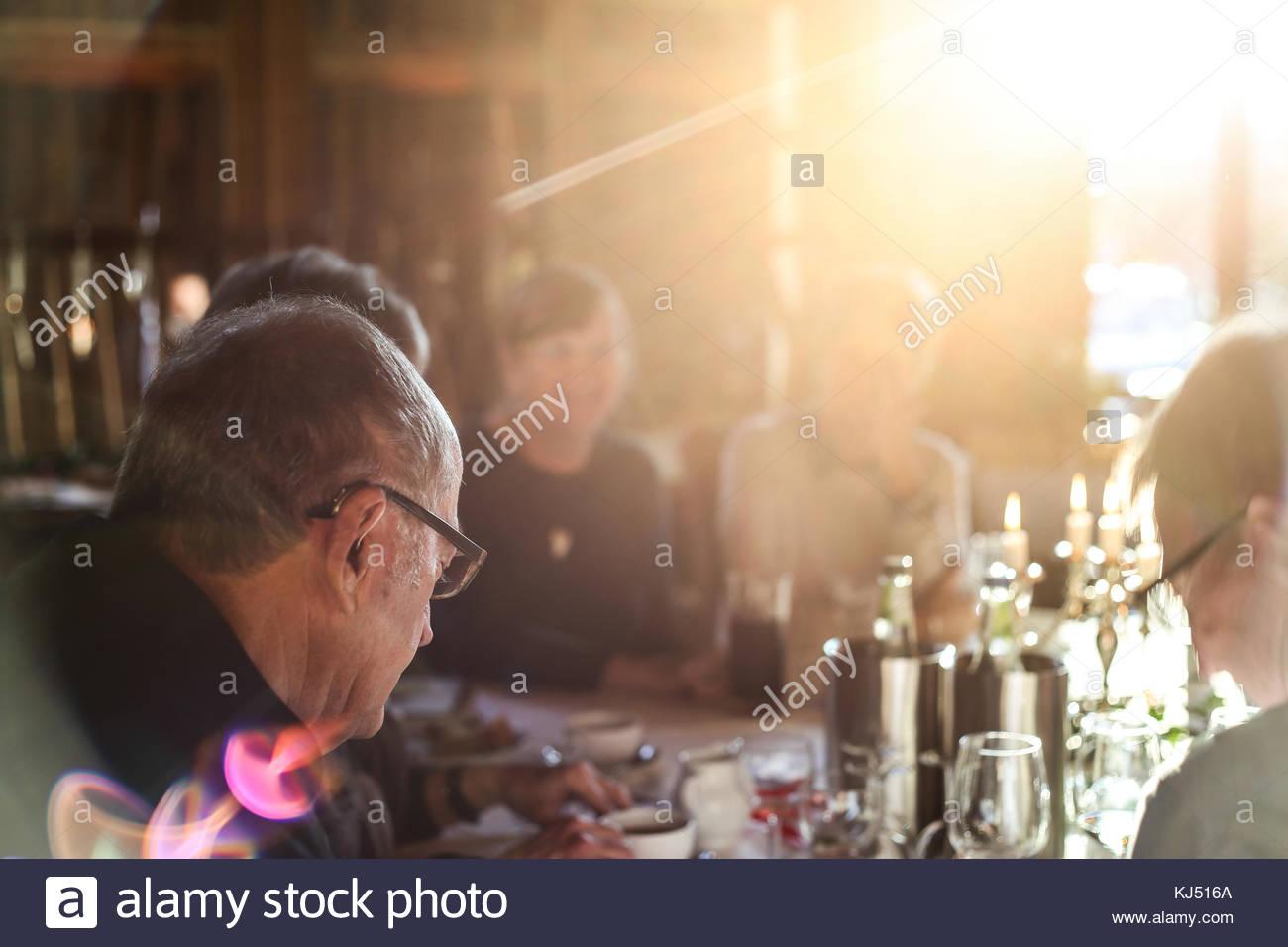 Dinner scene with soft light - Stock Image