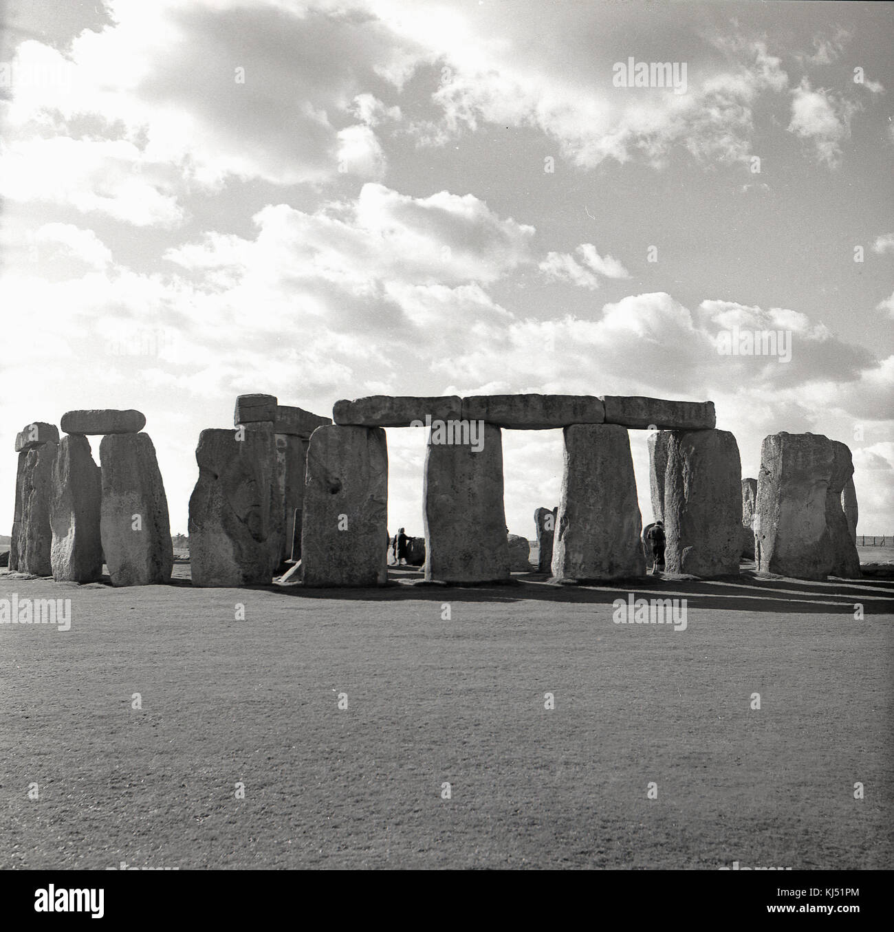 1950s, historical picture of the ancient burial ground of Stonehenge near Salisbury, Wiltshire, England, UK. At - Stock Image
