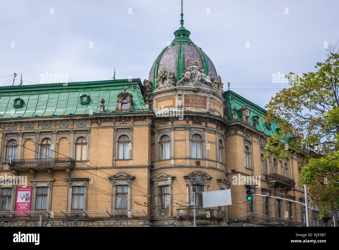 Building of former Galician Savings Bank, now it is a Museum of Ethnography and Art Crafts on the Old Town of Lviv - Stock Image