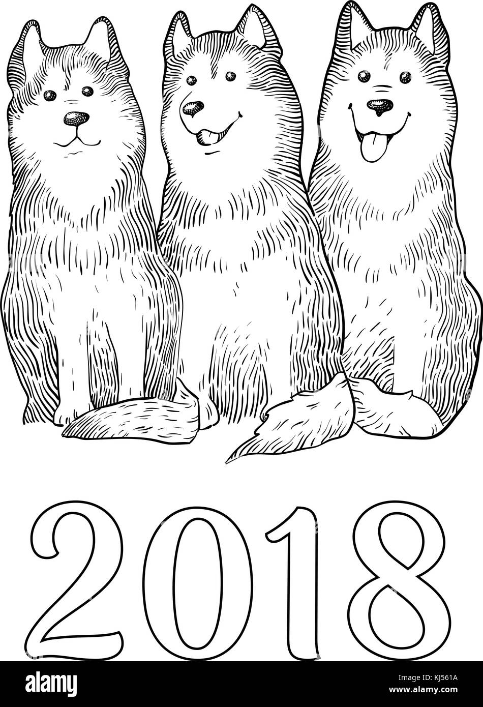 Congratulation card with Three Funny Husky dogs, number 2018. Symbol of New Year. Engraving colorful hand drawing - Stock Vector