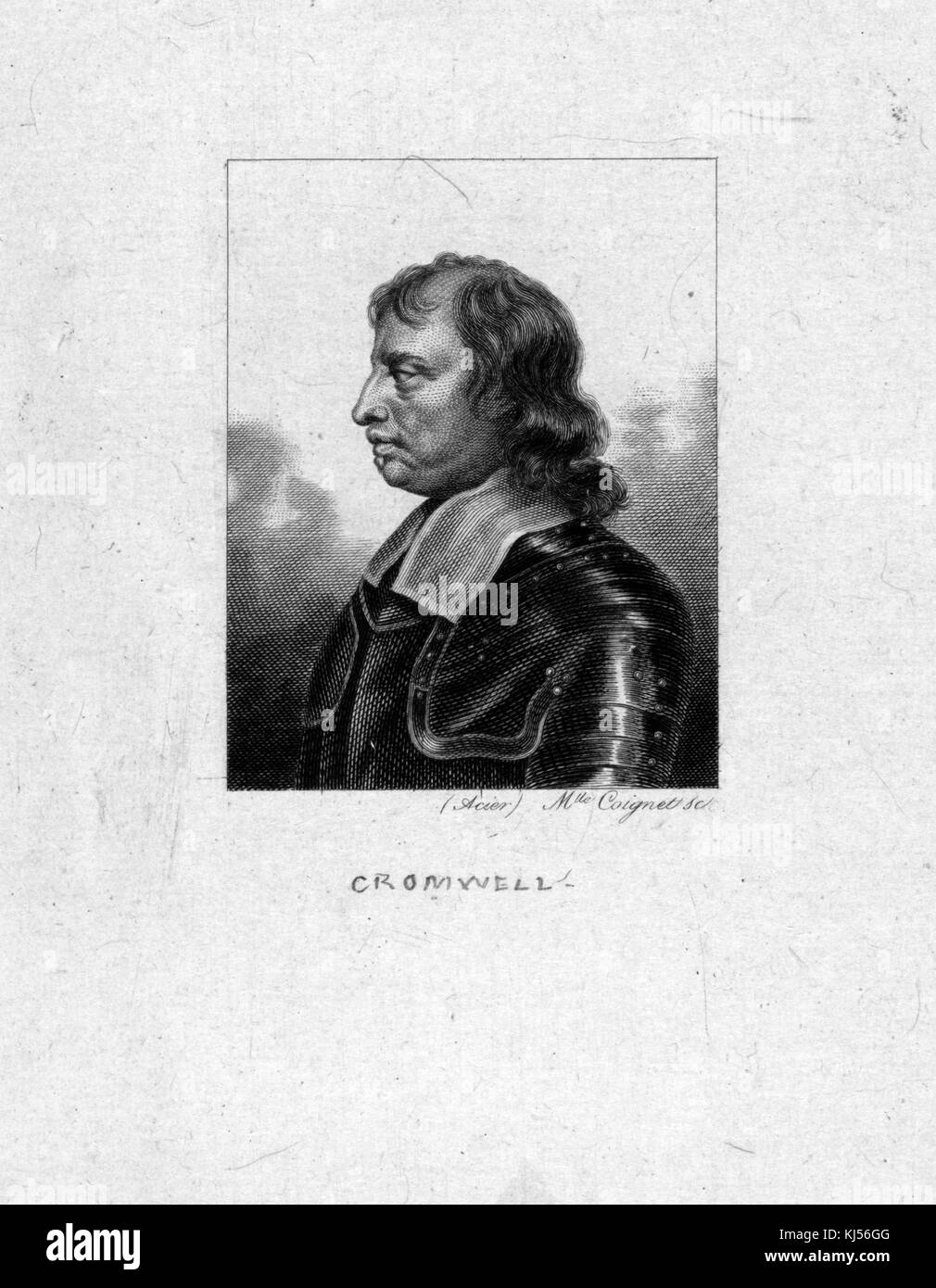Engraved portrait of Oliver Cromwell, English military and political leader and later Lord Protector of the Commonwealth - Stock Image