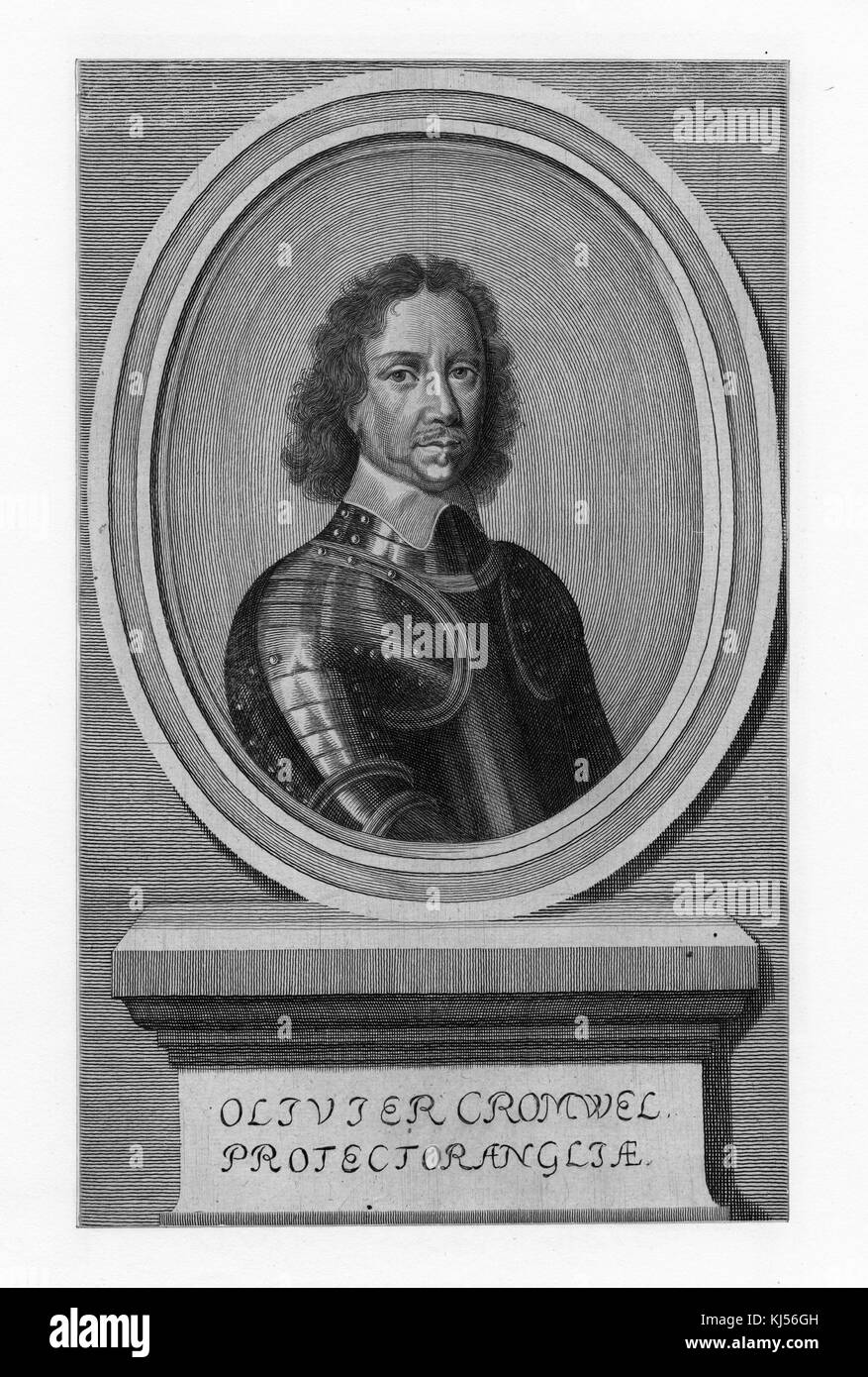 Portrait of Oliver Cromwell, English military and political leader and later Lord Protector of the Commonwealth - Stock Image