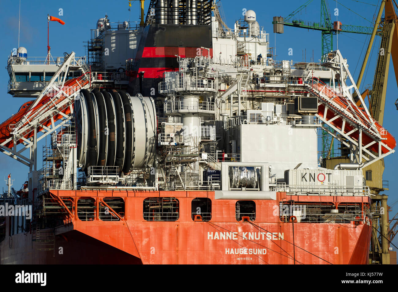 265 meter long Norwegian crude oil tanker Hanne Knutsen is under repair conversion to FSO Floating Storage and Offloading Unit in Remontowa Shipyar & 265 meter long Norwegian crude oil tanker Hanne Knutsen is under ...