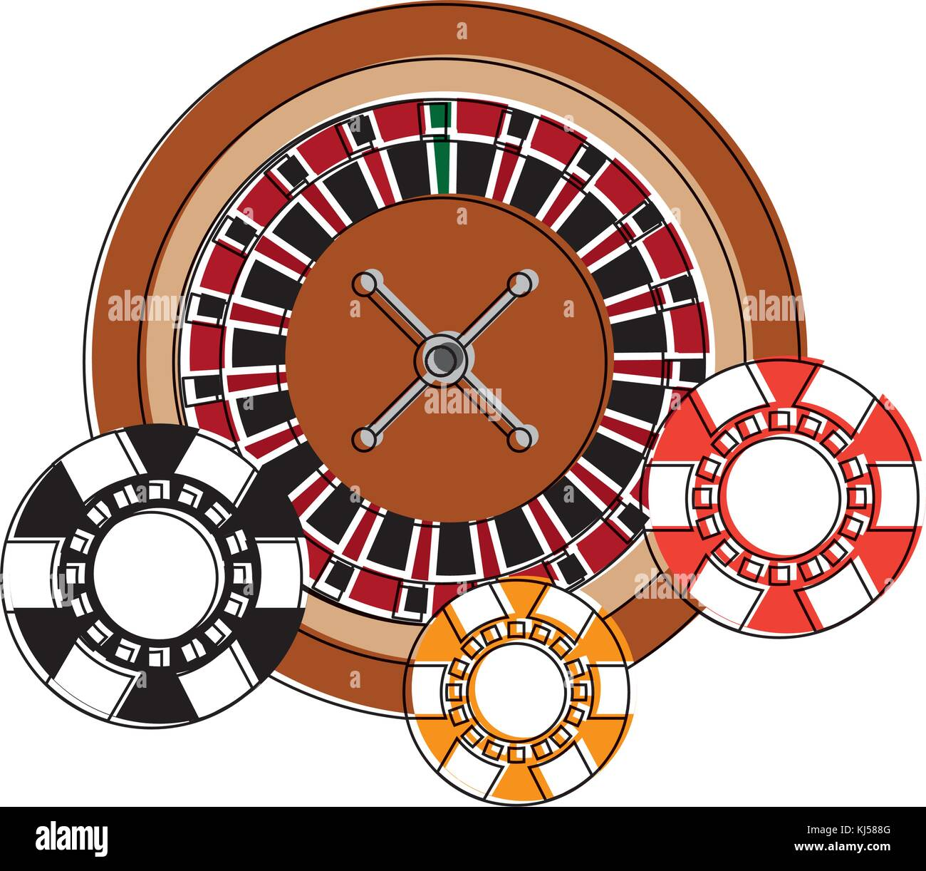 casino roulette wheel with chips fortune risk - Stock Vector