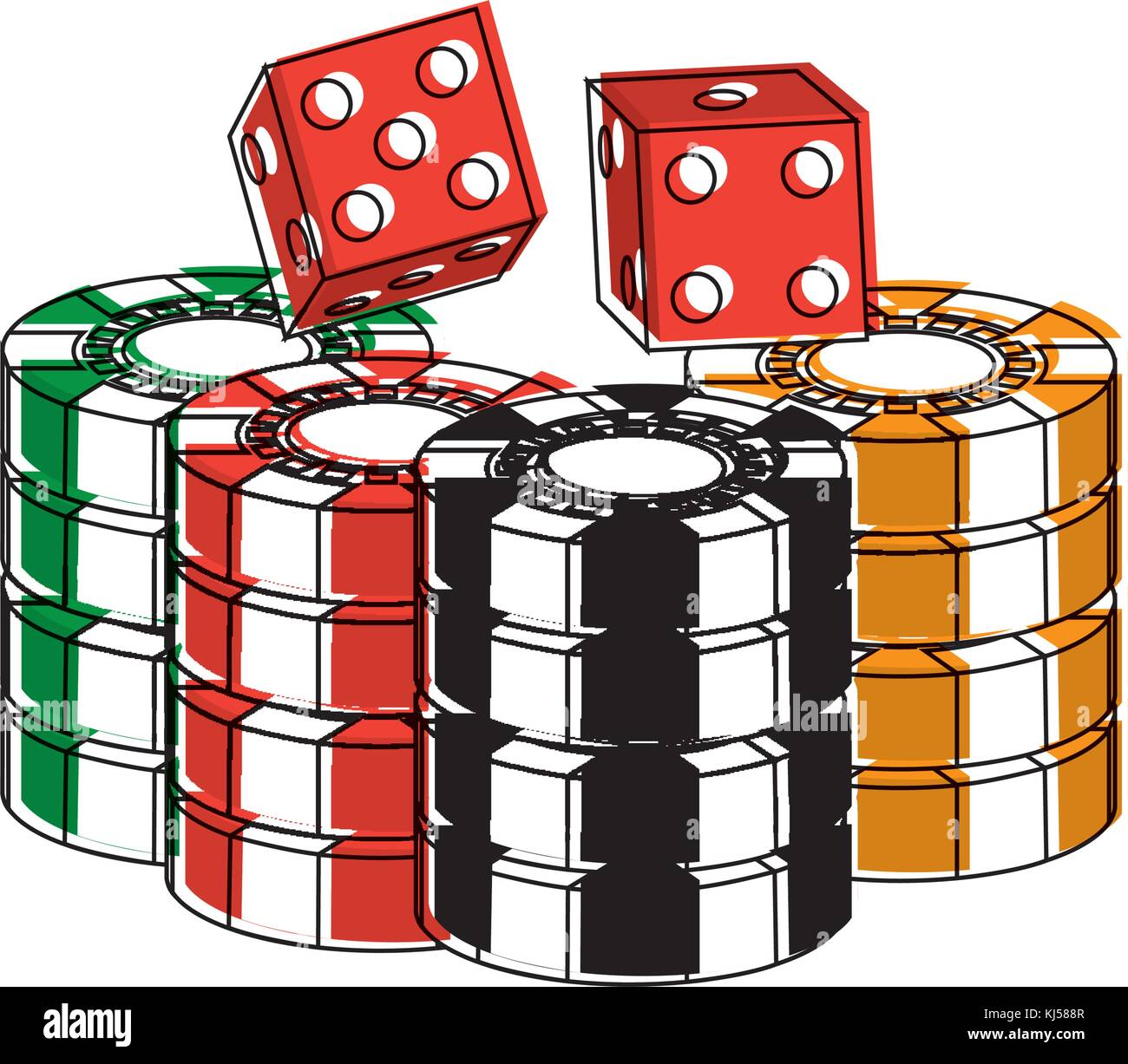 stacked chips and dice for game in the casino - Stock Image