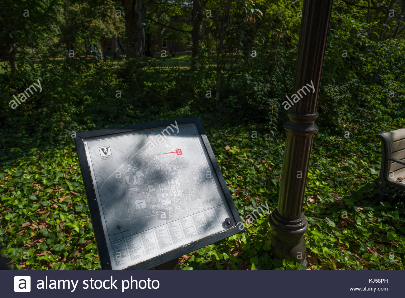 Outdoor map of campus, Vanderbilt University, Nashville, Davidson ...
