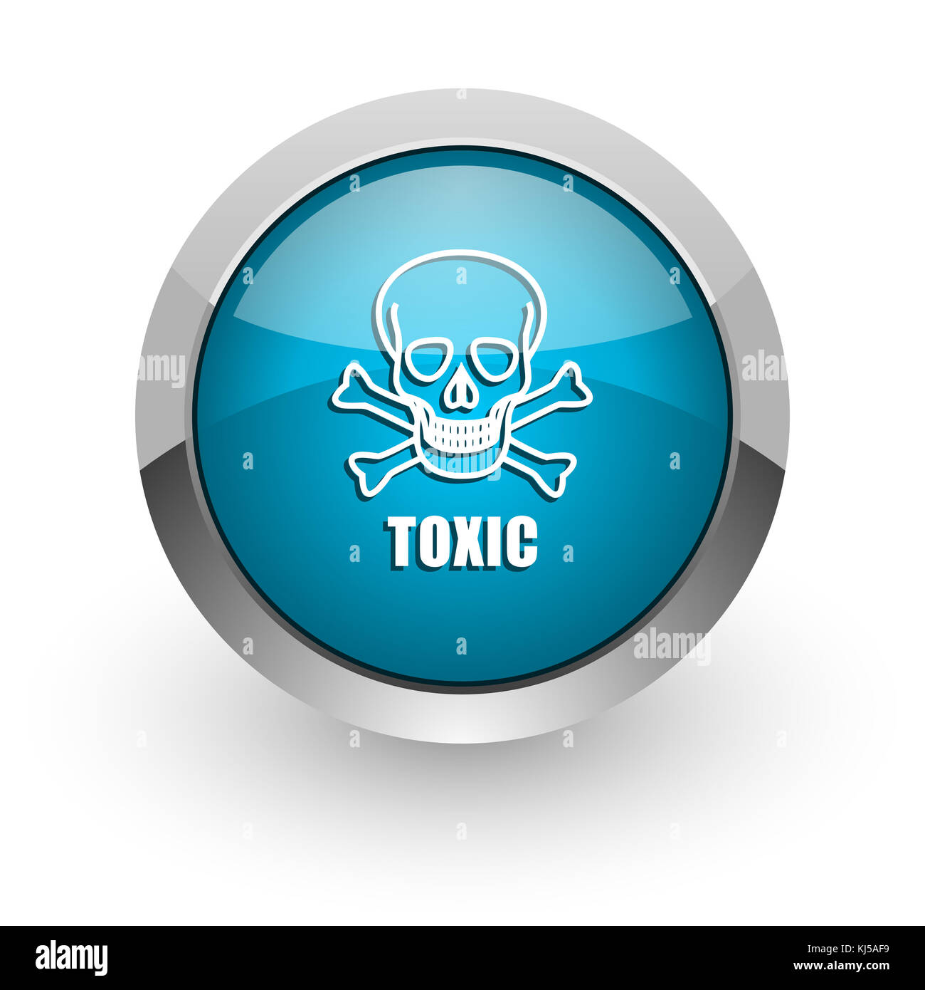 Toxic skull blue silver metallic chrome border web and mobile phone icon on white background with shadow Stock Photo