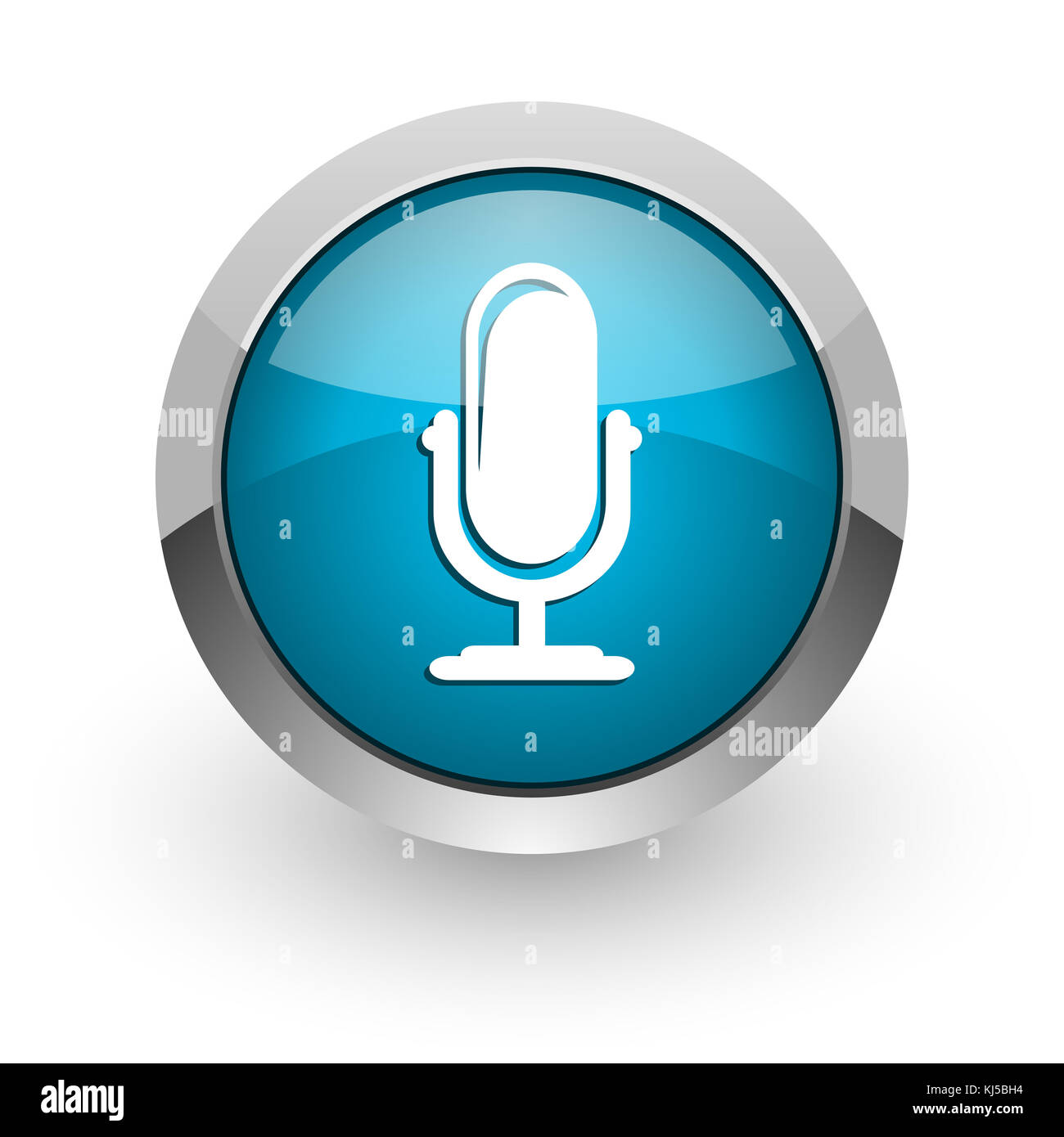 Microphone blue silver metallic chrome border web and mobile phone icon on white background with shadow - Stock Image