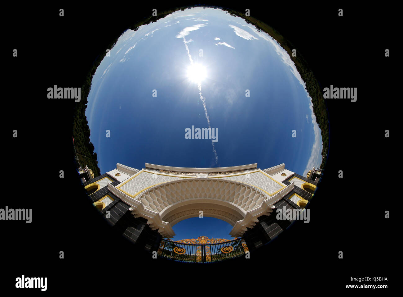 A fisheye view of the front entrance of the Malaysia King's Palace in Kuala Lumpur, February 12, 2017. - Stock Image