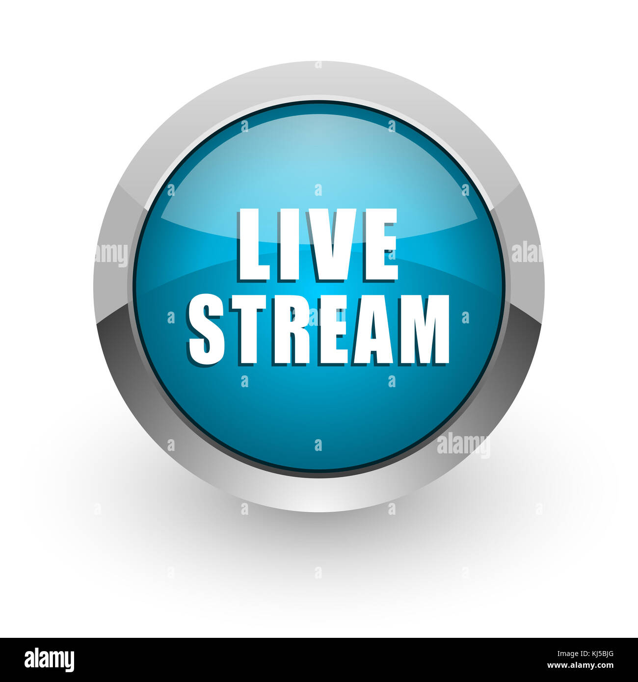 Live stream blue silver metallic chrome border web and mobile phone icon on white background with shadow - Stock Image