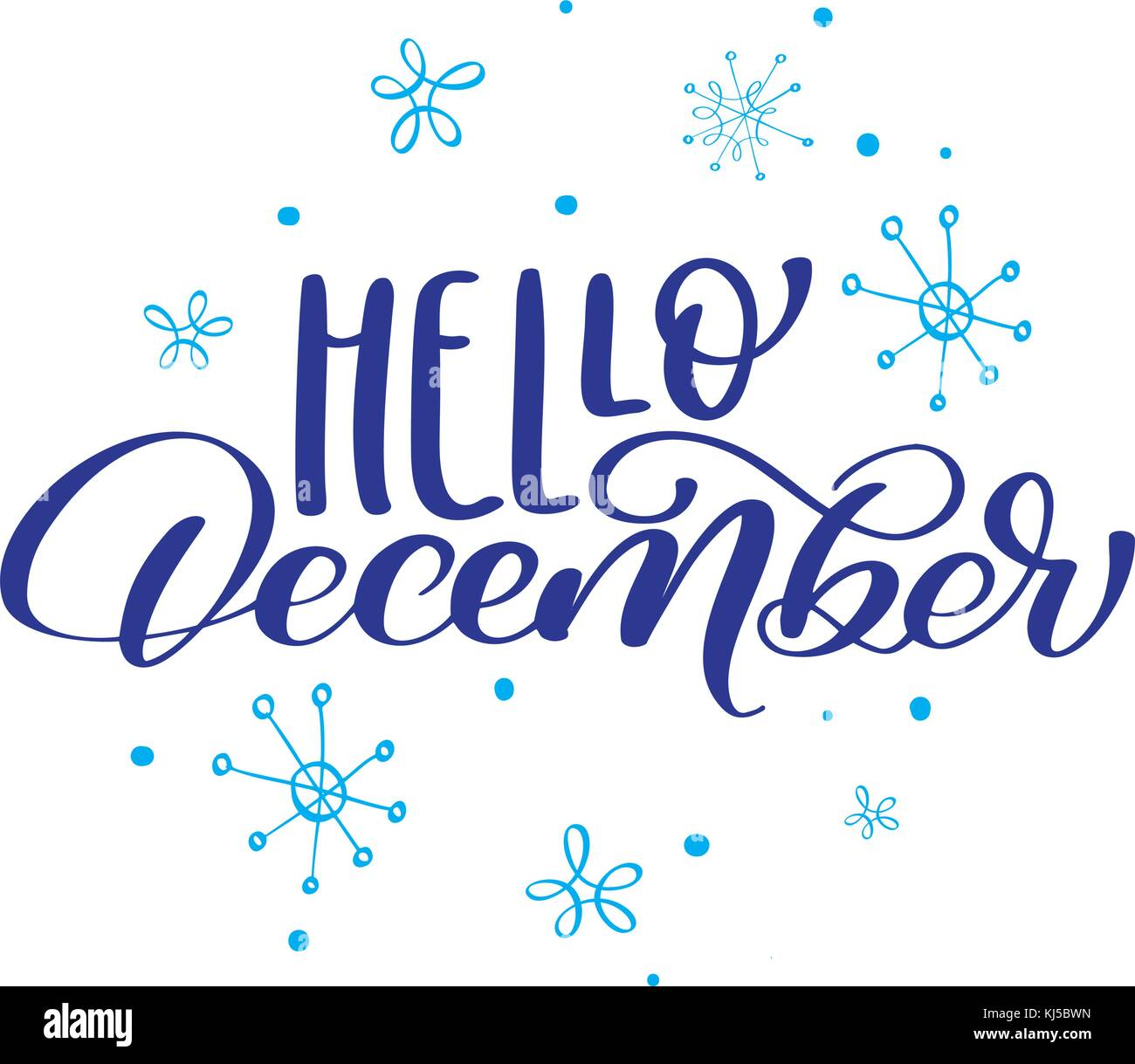 Christmas text Hello December on background of snowflakes ...