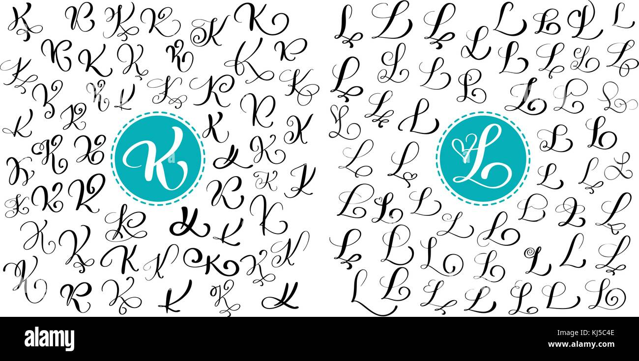 Set Letters K L Hand Drawn Vector Flourish Calligraphy Script Font Isolated Written With Ink Handwritten Brush Style Lettering For Logos