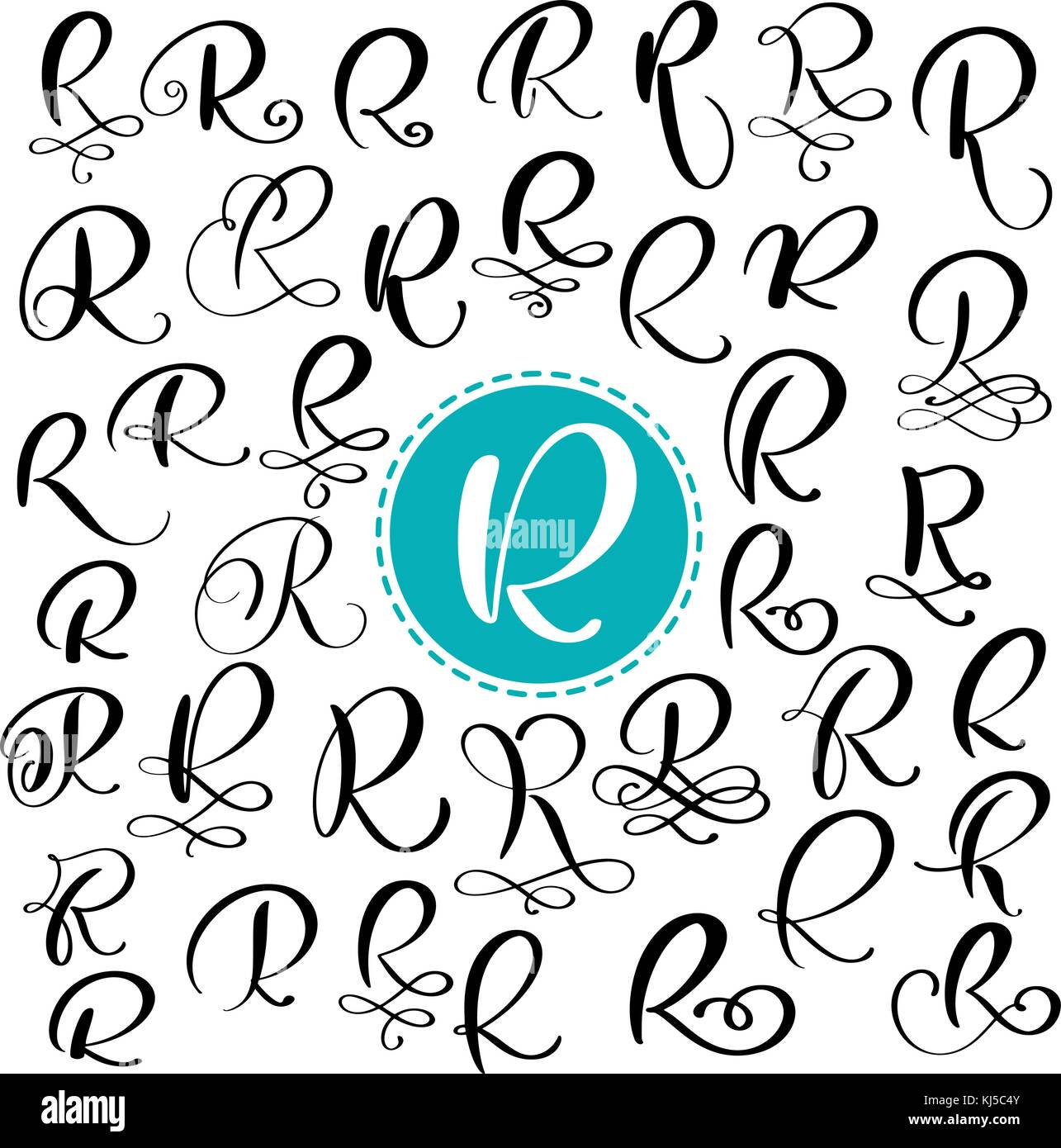 Set Letter R Hand Drawn Vector Flourish Calligraphy Script Font Isolated Letters Written With Ink Handwritten Brush Style Lettering For Logos
