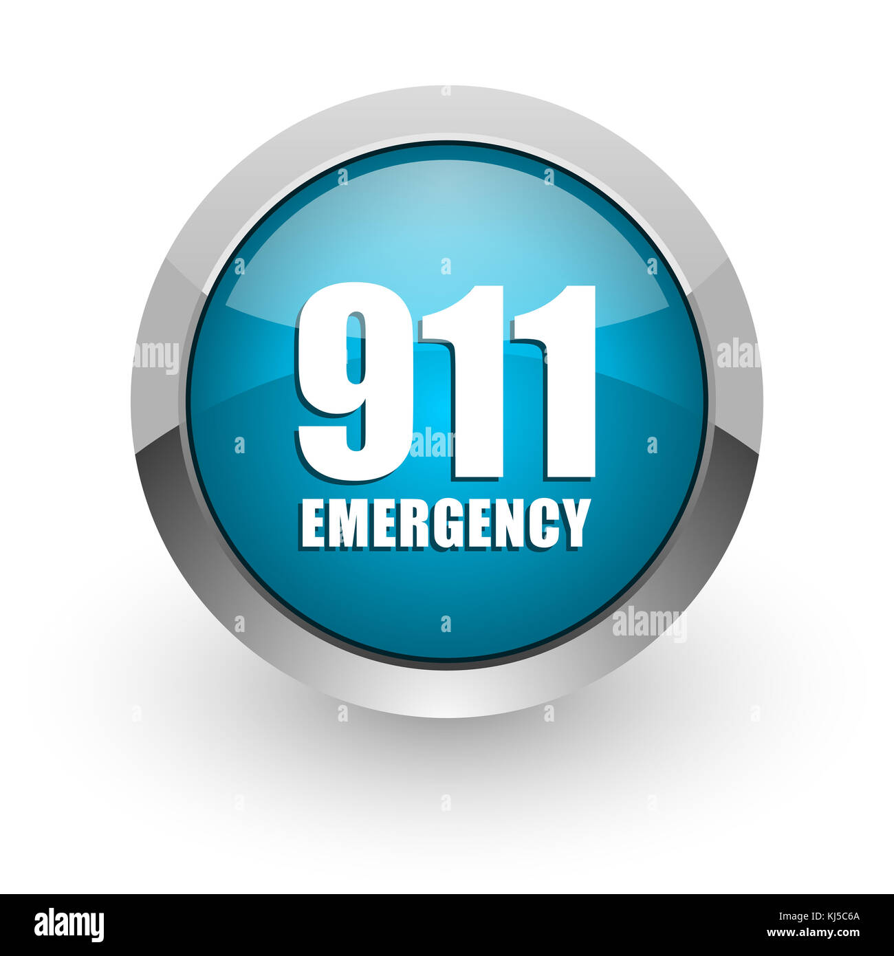 Number emergency 911 blue silver metallic chrome border web and mobile phone icon on white background with shadow - Stock Image