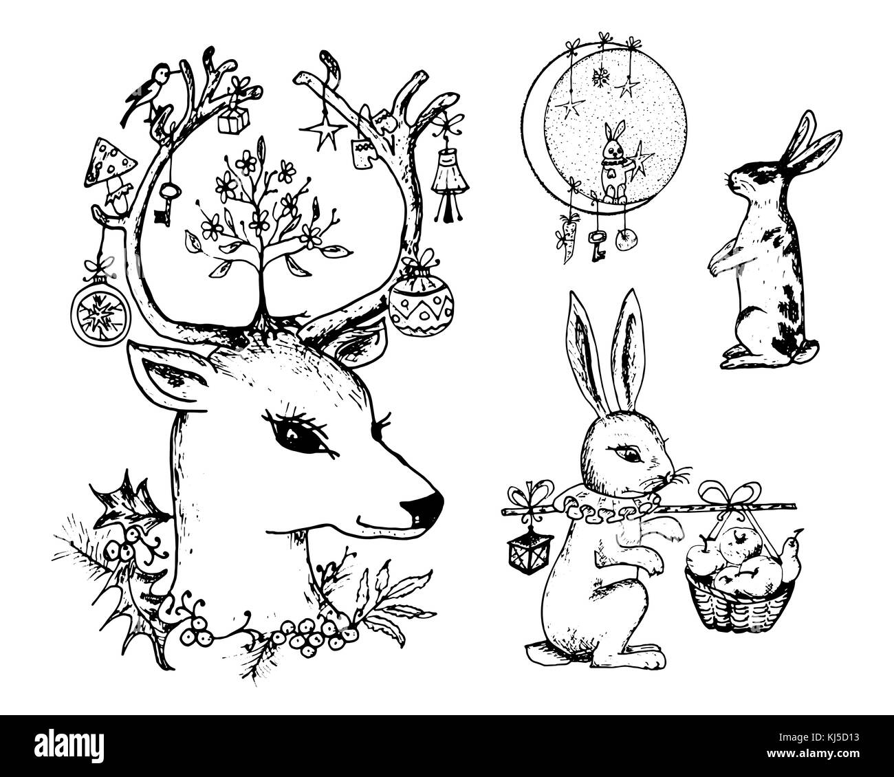 Christmas deer and animal with flowers in the horns. New Year hare and rabbit or bunny in the forest. winter holidays. Stock Vector