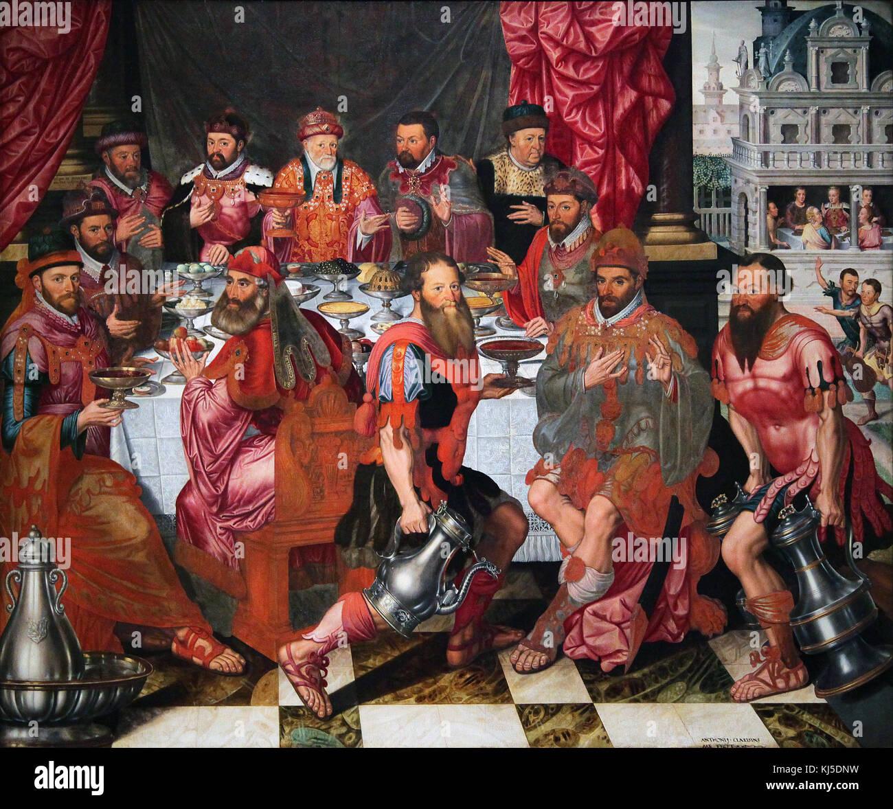Banquet of the City Officials 1574 by Antonius Claeissens - Stock Image