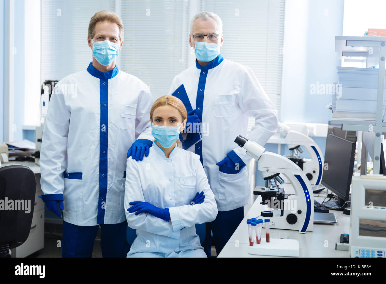 Medical researchers working in the lab Stock Photo